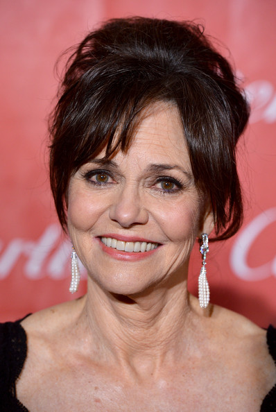 Sally Field Messy Updo [hair,eyebrow,hairstyle,beauty,chin,eyelash,smile,forehead,bangs,lip,arrivals,sally field,palm springs convention center,california,palm springs international film festival awards gala]