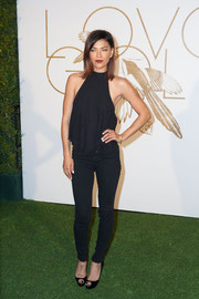 Jessica Szohr was casual yet sexy in a black halter top during the LoveGold party honoring Lupita Nyong'o.