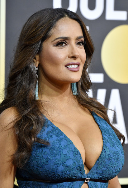 Salma Hayek Long Wavy Cut [hair,hairstyle,beauty,long hair,brown hair,black hair,chest,electric blue,model,trunk,arrivals,salma hayek,the beverly hilton hotel,beverly hills,california,golden globe awards,salma hayek,the golden globe awards ceremony,the beverly hilton,photograph,image,2020,celebrity,stock photography,royalty-free]
