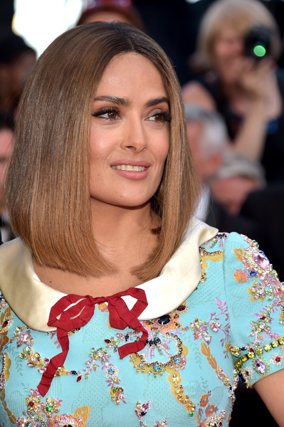 Salma Hayek Mid-Length Bob [hair,beauty,fashion model,hairstyle,human hair color,blond,fashion,long hair,bangs,hair coloring,red carpet arrivals,salma hayek,hair,hairstyle,fashion,beauty,fashion model,cannes,cannes film festival,palais des festivals,salma hayek,cannes film festival,cannes,hairstyle,lob,bob cut,cabelo,actor,hair,fashion]