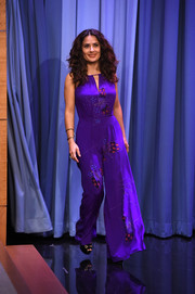 Salma Hayek made an appearance on 'Jimmy Fallon' wearing a breezy butterfly-print purple jumpsuit.