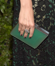 For her mani, Camilla Belle chose a dark gray hue.