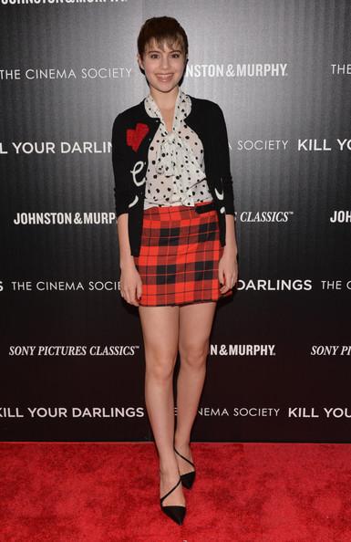 Sami Gayle Cardigan [kill your darlings,clothing,plaid,pattern,tartan,fashion,kilt,design,textile,fashion model,footwear,sami gayle,paris theater,new york city,cinema society and johnston murphy host a screening of sony pictures classics,the cinema society,johnston murphy,screening]