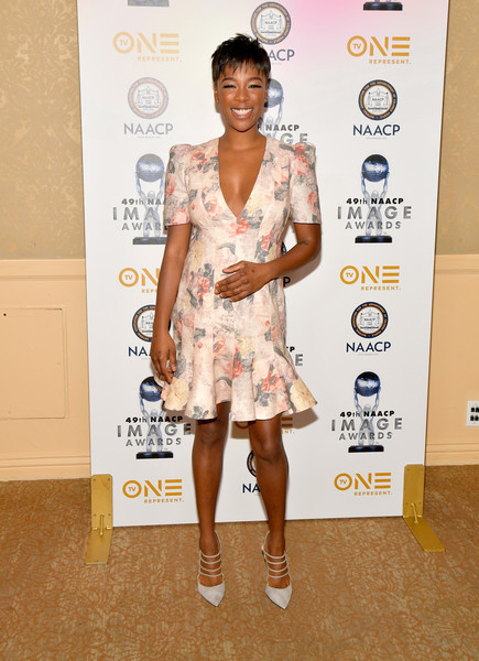 Samira Wiley Pumps [nominees,luncheon - arrivals,samira wiley,fashion model,footwear,flooring,shoulder,fashion,carpet,red carpet,leg,joint,long hair,naacp image awards,luncheon,california,beverly hills,the beverly hilton hotel]