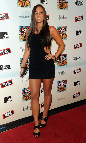 Sammi Giancola Cutout Dress [jersey shore,clothing,red carpet,little black dress,carpet,thigh,dress,leg,cocktail dress,fashion,shoulder,sammi ``sweetheart giancola,new york city,soundtrack release party,marquee,album release party]