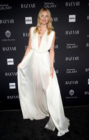 Lily Donaldson looked ethereal in a white Grecian gown during the Harper's Bazaar Icons event.