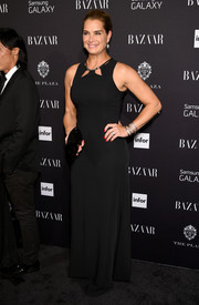 Brooke Shields opted for a simple black gown with a cutout neckline when she attended the Harper's Bazaar Icons event.
