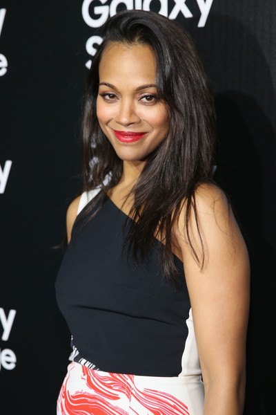 Zoe Saldana sported edgy layers with a pompadour top during the Samsung Galaxy S6 launch.