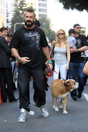 Brian walked the San Francisco Giants parade in a Giants world series T-shirt.