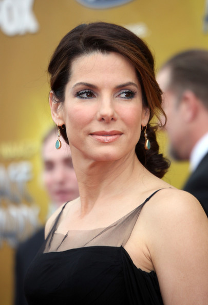 Sandra Bullock Dangling Gemstone Earrings [hair,face,facial expression,hairstyle,skin,eyebrow,beauty,head,smile,chin,arrivals,sandra bullock,naacp image awards,image awards,the shrine auditorium,los angeles,california,naacp]