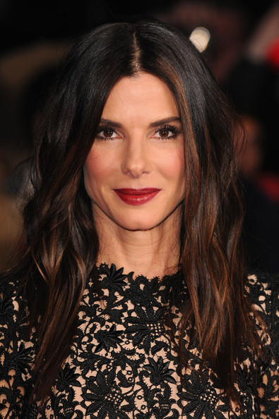 Sandra Bullock Long Center Part [gravity,hair,face,lip,hairstyle,eyebrow,fashion model,beauty,fashion,long hair,chin,red carpet arrivals,sandra bullock,london,england,odeon leicester square,bfi london film festival,screening]