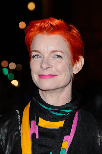 Sandy Powell Fauxhawk [hair,face,eyebrow,head,hairstyle,chin,lip,forehead,red hair,orange,dinner arrivals,sandy powell,hollywood costume,victoria albert museum,london,england,gala dinner]