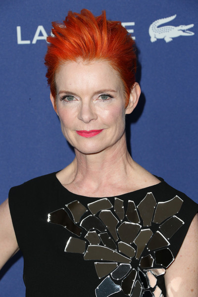 Sandy Powell Fauxhawk [hair,face,hairstyle,eyebrow,chin,shoulder,red hair,forehead,lip,pixie cut,sandy powell,costume designers guild awards,red carpet,beverly hills,california,the beverly hilton hotel,lacoste]