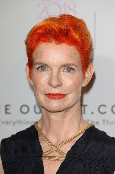 Sandy Powell Fauxhawk [the elle list 2018,red,eyebrow,human hair color,hairstyle,chin,hair coloring,forehead,red hair,blond,long hair,red carpet arrivals,sandy powell,elle list,somerset house,london,england]