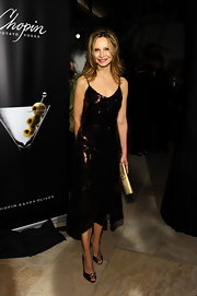 Calista Flockhart glimmered in bronze gemstone-embellished pumps. The peep-toes were a glam finish to Calista's sequin dress.
