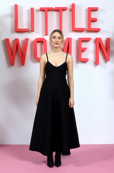 Saoirse Ronan Studded Boots [little women photocall,dress,clothing,black,fashion model,red,cocktail dress,little black dress,formal wear,fashion,pink,saoirse ronan,little women,releases,cinemas,london,soho hotel,uk,little women london,evening photocall]