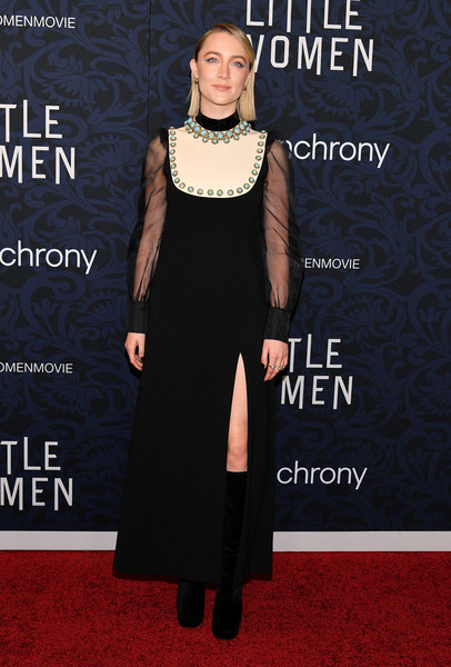 Saoirse Ronan Evening Dress [clothing,dress,carpet,red carpet,fashion,cocktail dress,flooring,neck,formal wear,shoulder,saoirse ronan,new york city,museum of modern art,little women world premiere]
