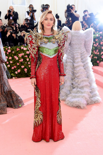 Saoirse Ronan Sequin Dress [red carpet,carpet,clothing,dress,fashion model,flooring,fashion,shoulder,gown,haute couture,fashion - arrivals,saoirse ronan,notes,fashion,new york city,metropolitan museum of art,met gala celebrating camp]