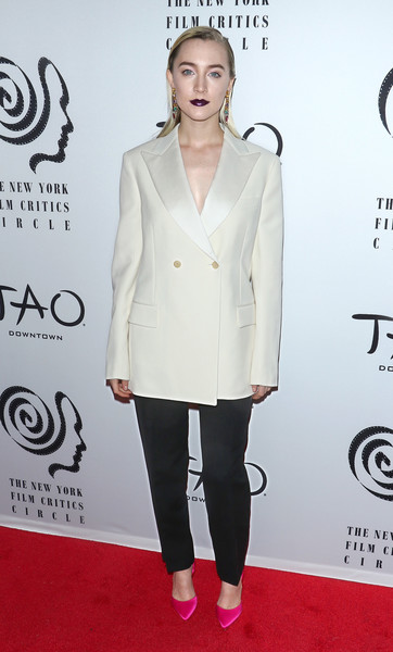 Saoirse Ronan Evening Pumps [clothing,white,suit,formal wear,outerwear,carpet,red carpet,shoulder,joint,blazer,new york city,tao downtown,new york film critics awards,saoirse ronan]