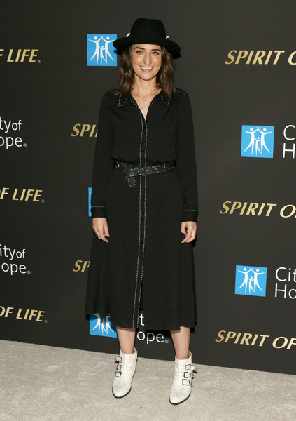 Sara Bareilles Studded Boots [clothing,dress,fashion,footwear,fedora,street fashion,hat,little black dress,outerwear,shoe,sara bareilles,spirit of life 2019 gala - arrivals,spirit of life 2019 gala,santa monica,california,the barker hanger,city of hope]