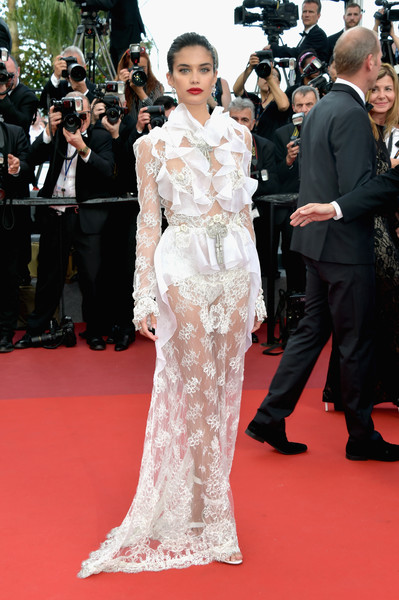 Sara Sampaio Sheer Dress [the killing of a sacred deer,red carpet,carpet,clothing,flooring,dress,fashion model,premiere,gown,fashion,haute couture,sara sampaio,screening,cannes,france,red carpet arrivals,cannes film festival,palais des festivals]