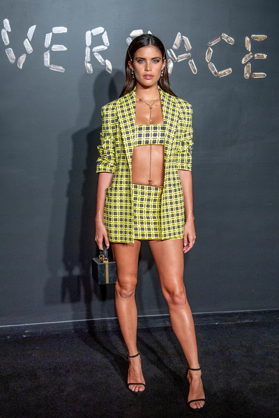 Sara Sampaio Strappy Sandals [fashion model,fashion,clothing,fashion show,yellow,fashion design,shoulder,design,runway,footwear,arrivals,sara sampaio,versace fall,american stock exchange building,new york city,lower manhattan,versace,fashion show]