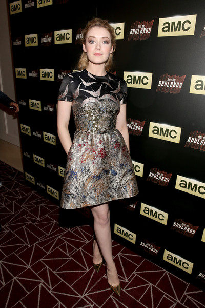 Sarah Bolger Pumps [into the badlands,into the badlands premiere,clothing,dress,carpet,fashion,hairstyle,red carpet,cocktail dress,fashion model,premiere,footwear,sarah bolger,west hollywood,california,amc]