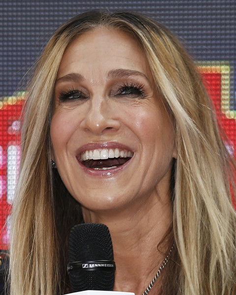 More Pics of Sarah Jessica Parker Long Straight Cut (1 of 84) - Sarah Jessica Parker Lookbook - StyleBistro [hair,face,facial expression,blond,eyebrow,hairstyle,lip,nose,chin,mouth,highpoint shopping centre,melbourne,australia,sarah jessica parker,greets fans]
