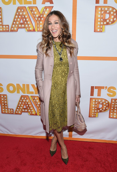 Sarah Jessica Parker Wool Coat [its only a play,red carpet,carpet,clothing,flooring,yellow,premiere,fashion,dress,outerwear,long hair,sarah jessica parker,broadway,new york city,bernard b. jacobs theatre,re-opening,re-opening night]
