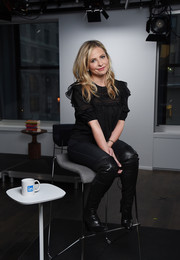 Sarah Michelle Gellar was sweet and girly in a black ruffle blouse while visiting LinkedIn.