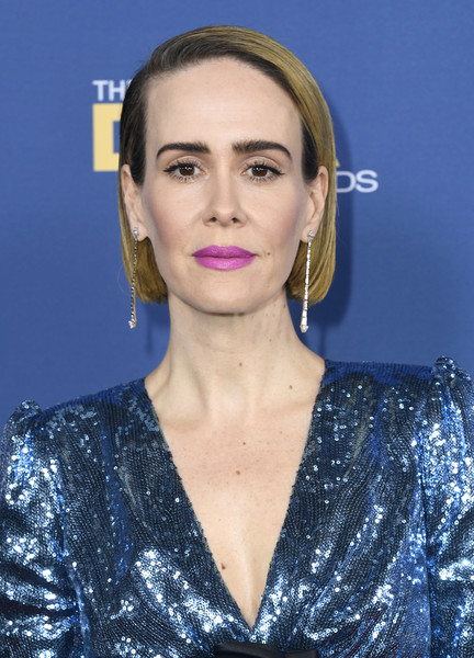 Sarah Paulson Berry Lipstick [hair,face,eyebrow,lip,hairstyle,beauty,chin,blond,premiere,cheek,arrivals,sarah paulson,directors guild of america awards,hollywood highland center,the ray dolby ballroom,california]