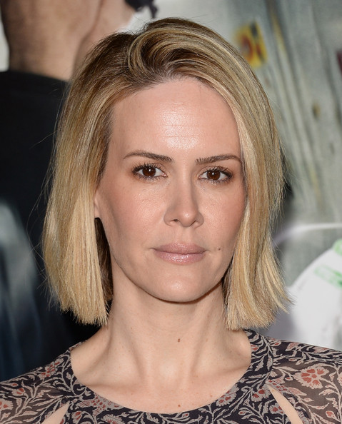 Sarah Paulson Bob [hair,face,blond,hairstyle,eyebrow,chin,head,beauty,forehead,layered hair,arrivals,sarah paulson,california,regency village theatre,universal pictures,studiocanal,westwood,premiere,premiere]
