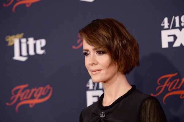 Sarah Paulson Bob [sarah paulson,fx network 2017 all-star upfront,hair,face,hairstyle,bangs,long hair,brown hair,flooring,carpet,smile,premiere,new york city,sva theater]