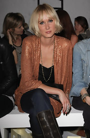 Kimberly Stewart styled her short hair with front bangs.  A nice look.