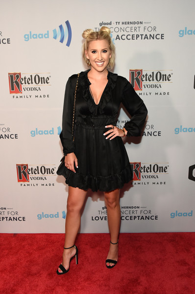 Savannah Chrisley Little Black Dress [clothing,dress,little black dress,cocktail dress,carpet,red carpet,premiere,footwear,event,flooring,ty herndon,cody alan,savannah chrisley,wildhorse saloon,nashville,tennessee,glaad,cmt,concert for love acceptance]