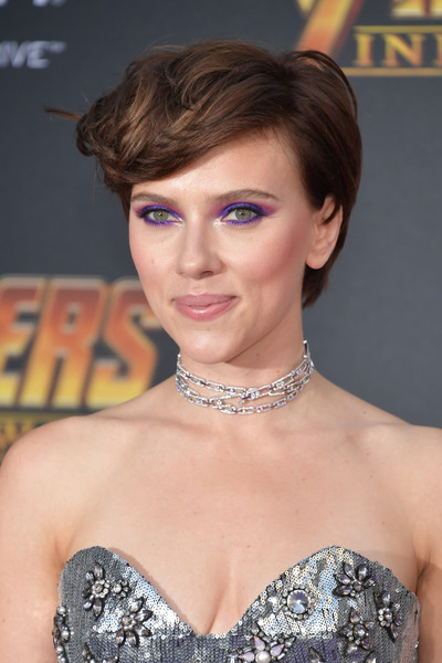 Scarlett Johansson Diamond Choker Necklace [hair,beauty,fashion model,hairstyle,eyebrow,jewellery,human hair color,chin,lady,bangs,arrivals,scarlett johansson,avengers,hair,hairstyle,los angeles,marvels avengers: infinity war,disney,premiere,premiere of disney,scarlett johansson,avengers: infinity war,black widow,los angeles,premiere,the avengers,marvel studios,film,actor]