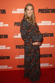 Yvonne Strahovski attended the screening of 'The Predator' wearing a printed maxi dress by Giamba.