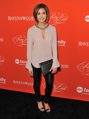 Nicole Gale Anderson looked sassy in a mauve tunic with an embellished neckline teamed with black skinnies during the 'Pretty Little Liars' screening.