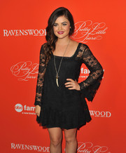 Lucy Hale was boho-chic in a long-sleeve lace LBD during the 'Pretty Little Liars' Halloween episode screening.