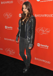 Troian Bellisario opted for a casual, grungy look with a pair of gray skinny jeans and a leather jacket when she attended the 'Pretty Little Liars' screening.