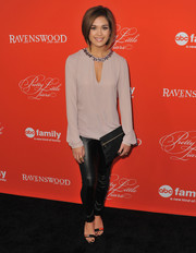 Nicole Gale Anderson's black skinnies and mauve tunic at the 'Pretty Little Liars' screening were a very stylish pairing.