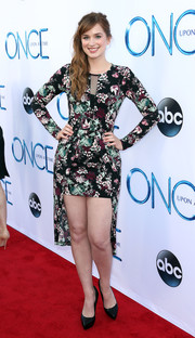 Elizabeth Lail showed lots of leg in a floral fishtail dress during the 'Once Upon a Time' season 4 screening.