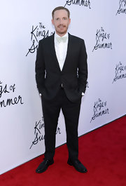 Marc Evan Jackson chose a classic two-button suit with a light-colored bow tie for his look at the premiere of 'The Kings of Summer.'