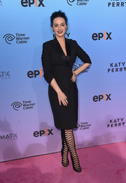 Katy Perry was sleek and chic in a black tuxedo dress by Balenciaga at the 'Prismatic World Tour' screening.