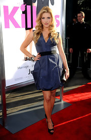 Katheryn Winnick showed off her navy blue cocktail dress, which she paired with peep toe pumps.