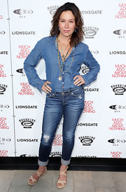 Jennifer Grey was dressed down in a denim-on-denim outfit and nude wedge sandals at the 'Much Ado About Nothing' screening.
