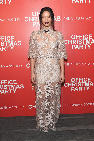 In Reem Acra At The 'Office Christmas Party' Premiere