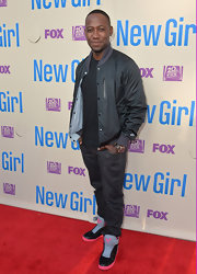 Lamorn Morris chose this athletic-style button-up bomber jacket for his look at the 'New Girl' screening in Hollywood.