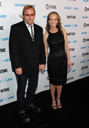 Helen Hunt sparkled on the red carpet in a classic LBD paired with black strappy sandals.