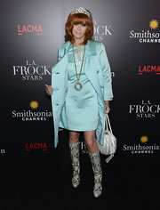 Linda Ramone sported baby blue from head to toe at the 'LA Frock Stars' premiere.